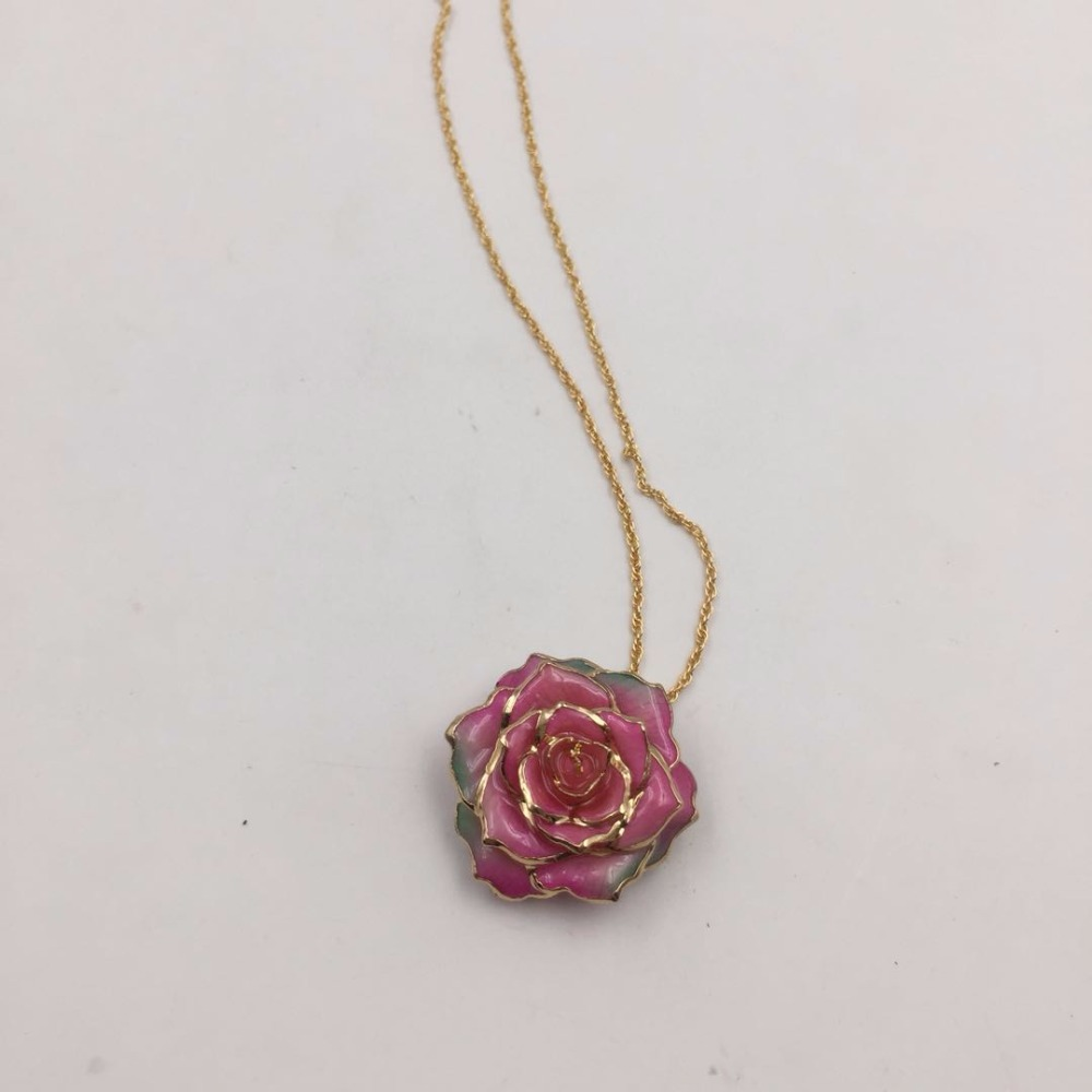 <strong>Fashion</strong> Newest Rose Flower Design Pure Gold Necklace As Valentine's Day Gift
