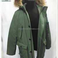 Men Army Green Real Fur Down