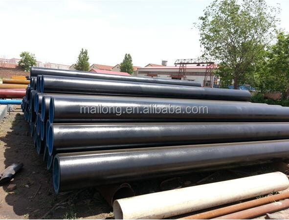 Carbon seamless steel tube ASTM A53/A106/API 5L Grade A.SCH80 with Bevelled 30 ends,caps and Black coating lenght 11.8 mts (+0/
