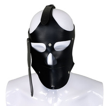 Latex fetish mask bondage hood with mouth gags by clasp plug and covering eyes