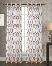 luxury 2016 America style 100% polyester embroidery window curtain
