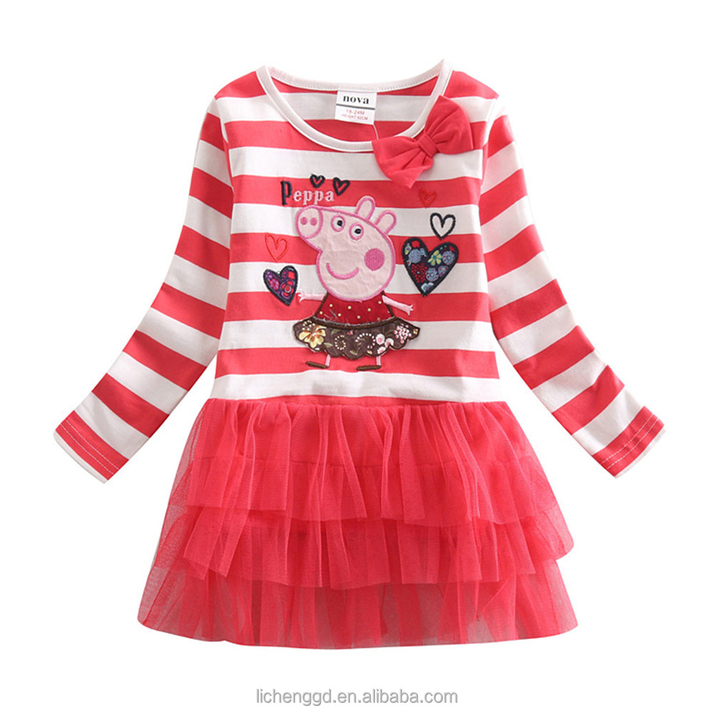 (H4211) 2016 Baby girl party dress children frocks designs pig lovely printed wholesale children clothes kids girl fashion