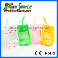 Promotional fancy cute easy carry custom silicone hand sanitizer holder with glitter