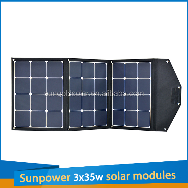 105W Portable solar panel charger 3pcs 35w sunpower flexible solar panel in series