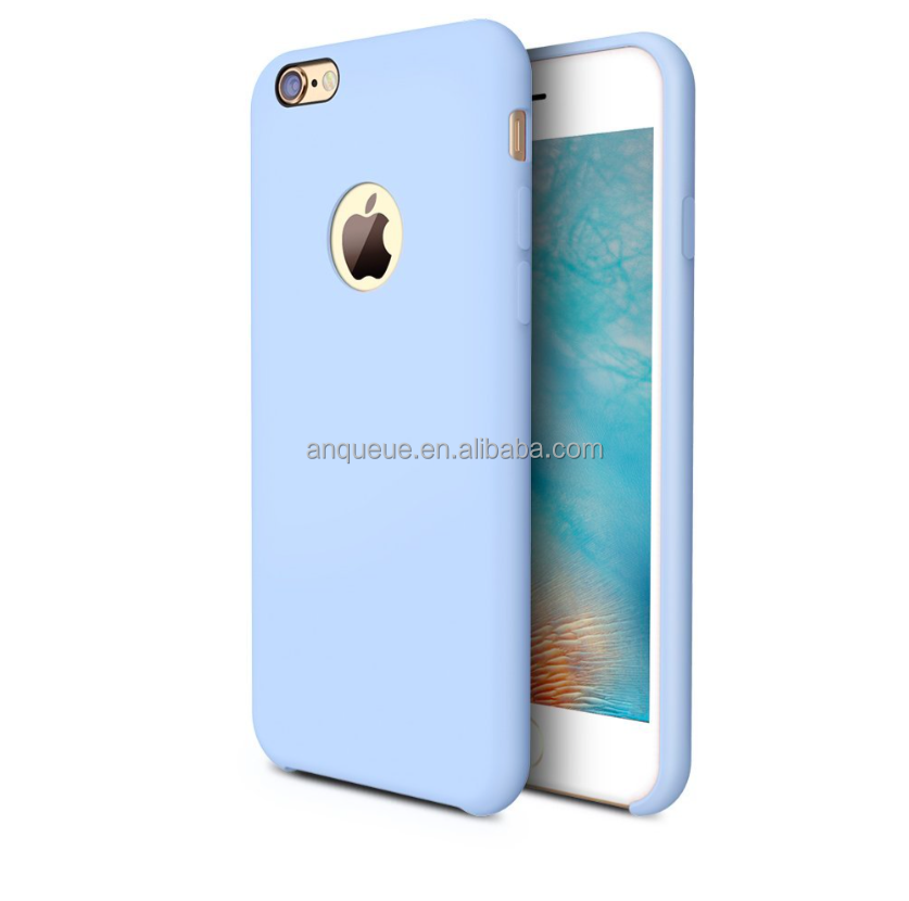 For iPhone 6s Case Liquid Silicone Rubber Shockproof Case with Soft Microfiber Cloth Cushion (4.7 inches)- Light Blue
