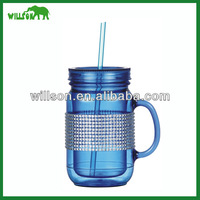 2016 hot sale 16oz blue plastic jar with straw