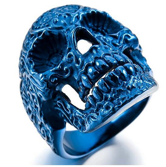 Zhongzhe Jewelry 316L Stainless Steel Mens Bikers Blue Sugar Skull Ring, Personalized Punk Style
