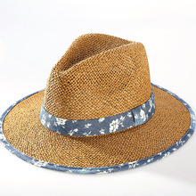 High quality fashion custom logo panama straw hats cowboy hat wholesale