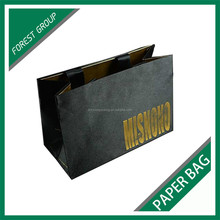 LUXURY NEW STYLE BLACK PAPER BAG FOR BEVERAGE PACKAGING WITH GOLD HOT STAMPPED