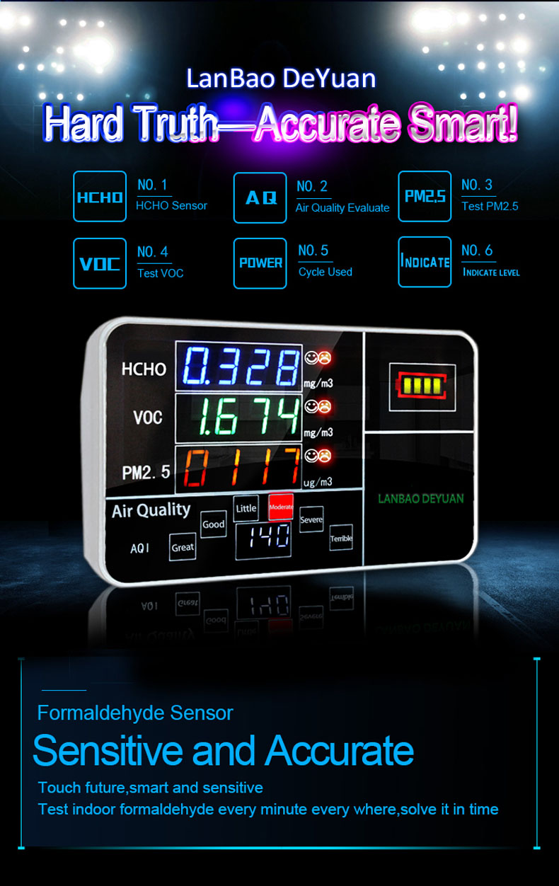 Colored Screen Home Indoor Portable PM2.5 Methanol Detector