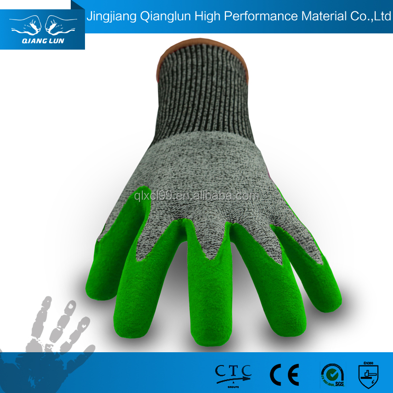 QL Palm coated Puncture resistant rubber protective safety gloves