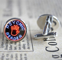 Psychic Reader Neon Sign Silver Plated Cufflinks Cuff Gift for Him Round Glass Cuff