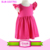 Children clothing kid smocked dress wing flutter sleeve monogram frock baby girls party wear princess rainbow design tunic dress
