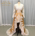 SEYY08 Real Picture Custom made Long Sleeves Gold and White Sexy Girls Front Long Back short Party Dress Evening Dress