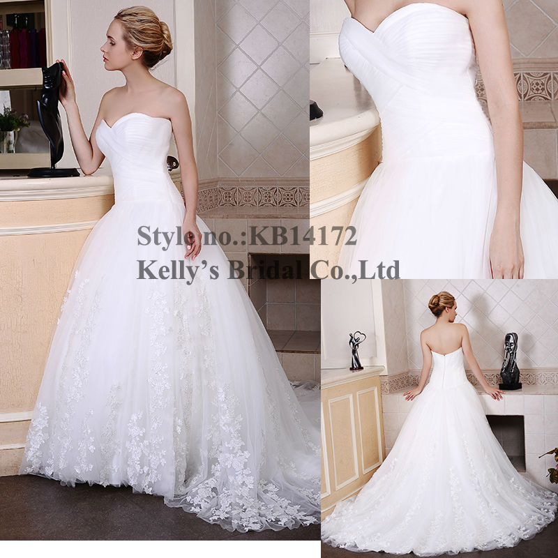 Cheapest and Most popular 2015 sweetheart tulle lace mermaid wedding dress