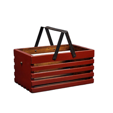 Wholesale high grade handheld outdoor food fruit basket wood picnic basket
