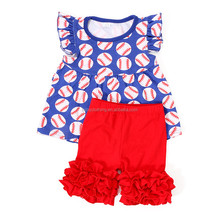 latest kids clothes baseball tunic top red ruffle short set newborn baby clothes