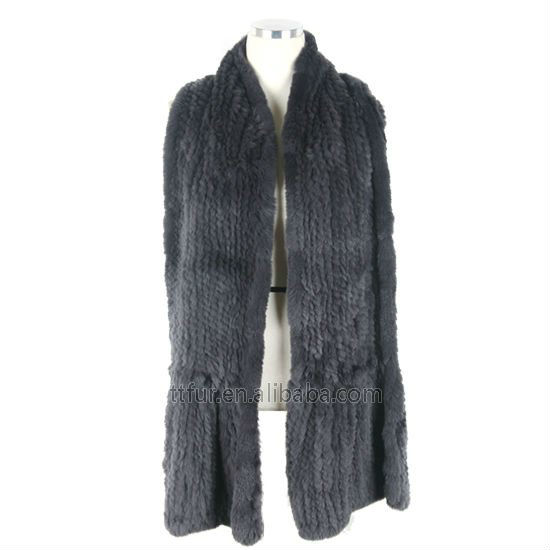 Genuine rabbit fur knitted scarf/muffler for womens TT089