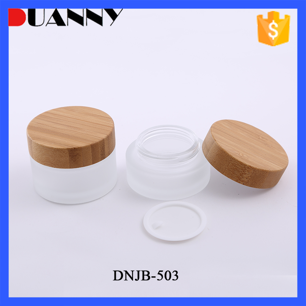 Best Selling High Quality Frosted Wide Mouth Glass Cream Jar With Wooden Lid From Supplier Made In China
