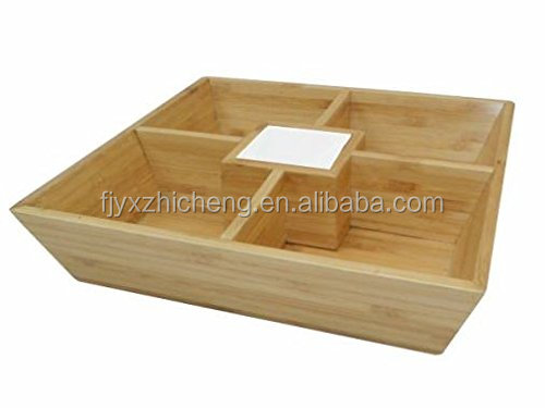 natural square bamboo food serving tray for dinning room bamboo serving chips and dip party platter