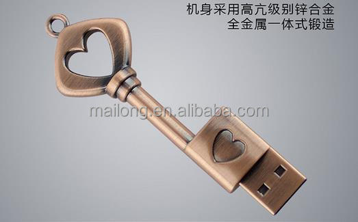 Creative key usb 32 gb metal love 8 g heart-shaped gift usb flash drive PN6960