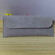Grey Velvet Pouch With Flap For Jewelry