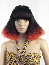Synthetic 100% Toyokalon Japanese Fiber Specialized Black Red TT Colored Cosplay Wig