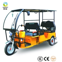 Electric Rickshaw type and open body type 3 wheel motorcycle driving