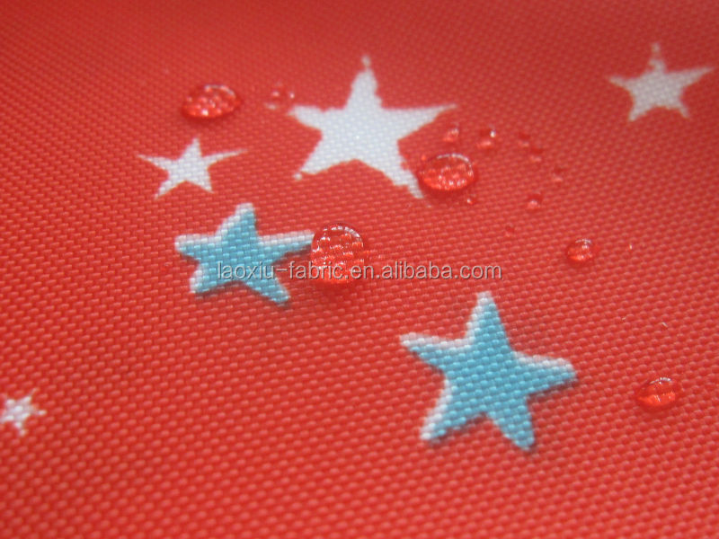 210D printed polyester oxford pu coating fabric