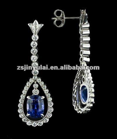 New Design Jewelry of Art Deco Style Sapphire CZ Diamond Drop Stud Earrings