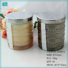 FengJun water drop patern colored cylinder jar glass flake candle soy wax candle making