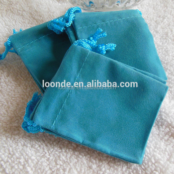Turquoise mini velvet or velour bag for packing jewelry necklaces earrings