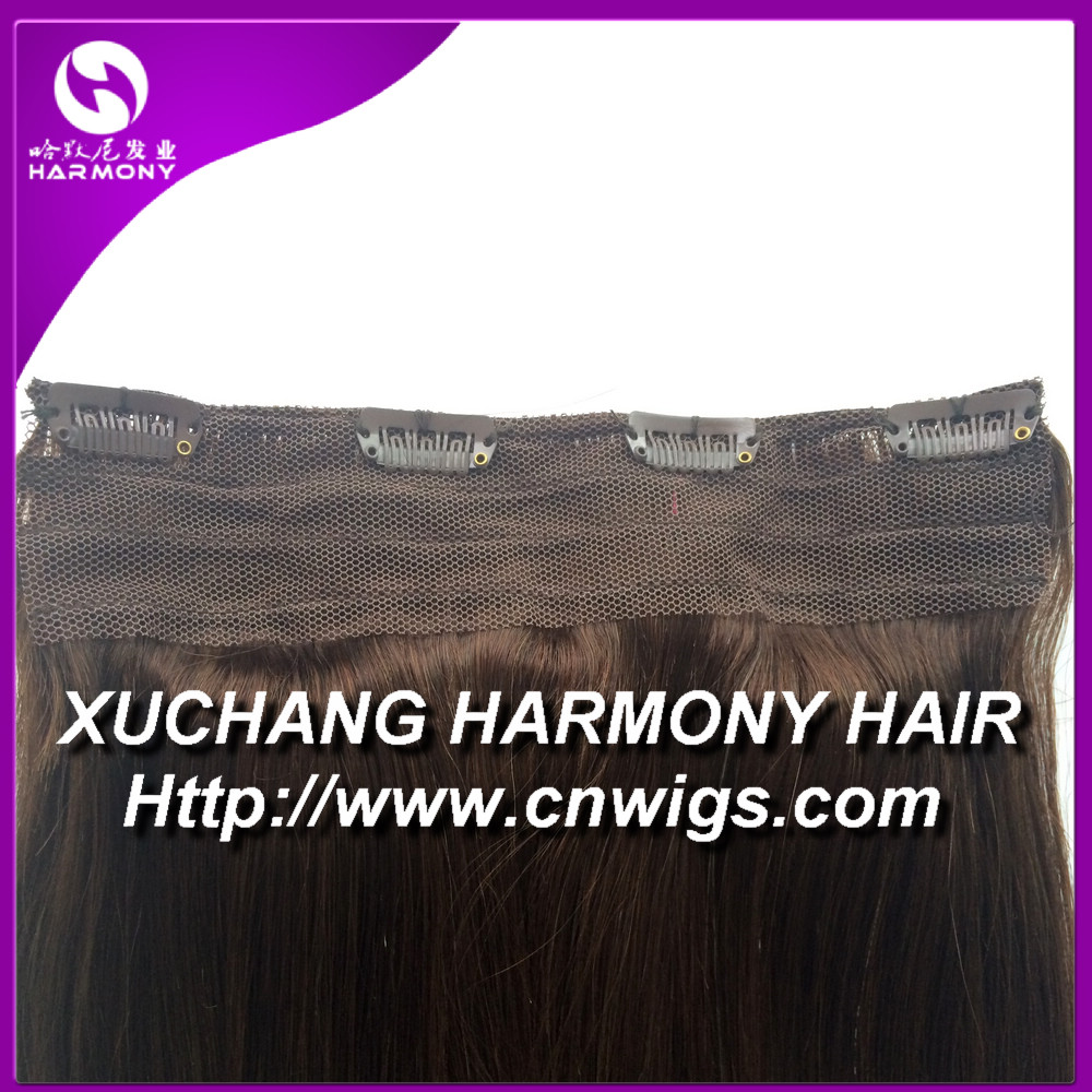 Stock Volumizer 8 inch quad weft clip in hair extension/8 inch clip-in human hair extensions with more colors on stock