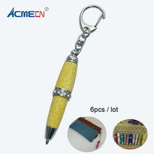 Mini Glitter Pen Keychain Cool Design Short Ballpoint Pen with Rhinestone Funny Glitter Keyring Ornaments for Retail Stationery