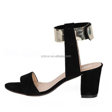 2017 China shoe factory wholesale low price block high heel ankle strap ladies sandals black color