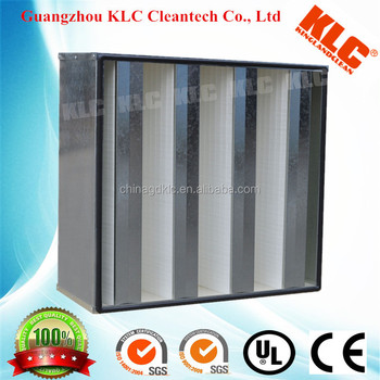 High quality V-bank type HEPA air filter with galvanized steel frame