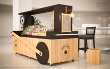 2017 Mobile wooden food vending cart with good wheels fast food carts