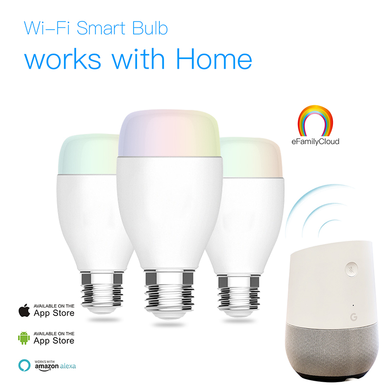 Amazon ebay hot wireless smart dimming rgb wifi light <strong>bulb</strong> working with google home