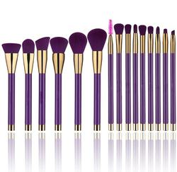 14pcs wooden makeup brush set natural hair with organic makeup brush