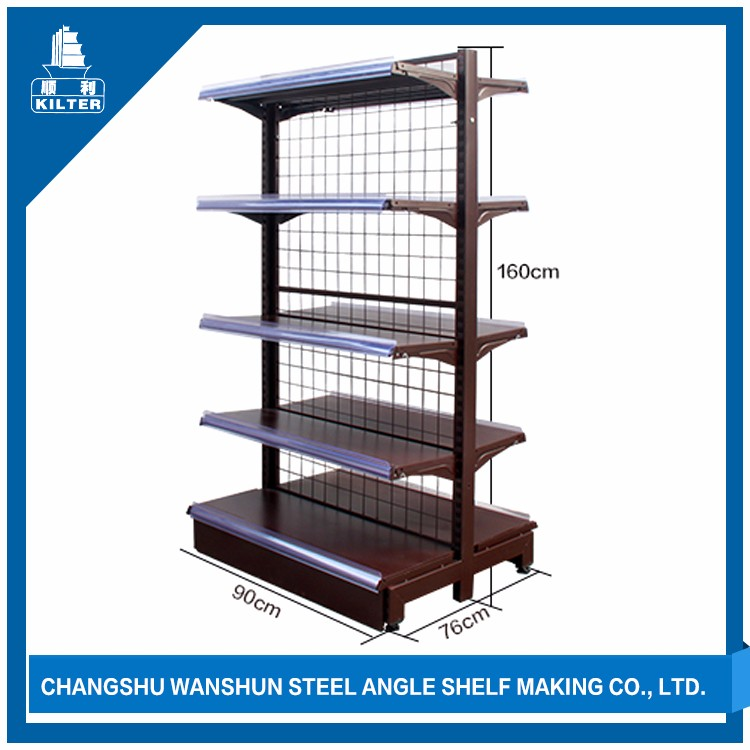candy shelf,2 sided wire display, back plate gondola shelving