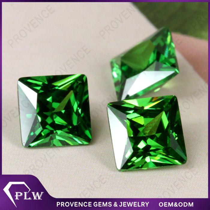 Fancy Loose CZ Stone Green Square Cubic Zirconia for Ear Stud