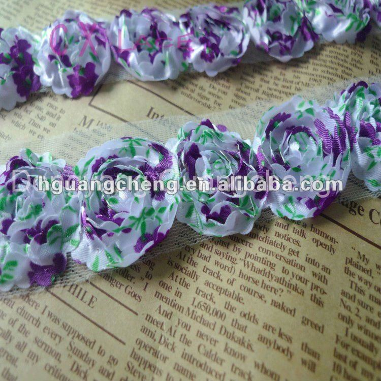 printing high quality 3CM chiffon ribbon lace flower trims