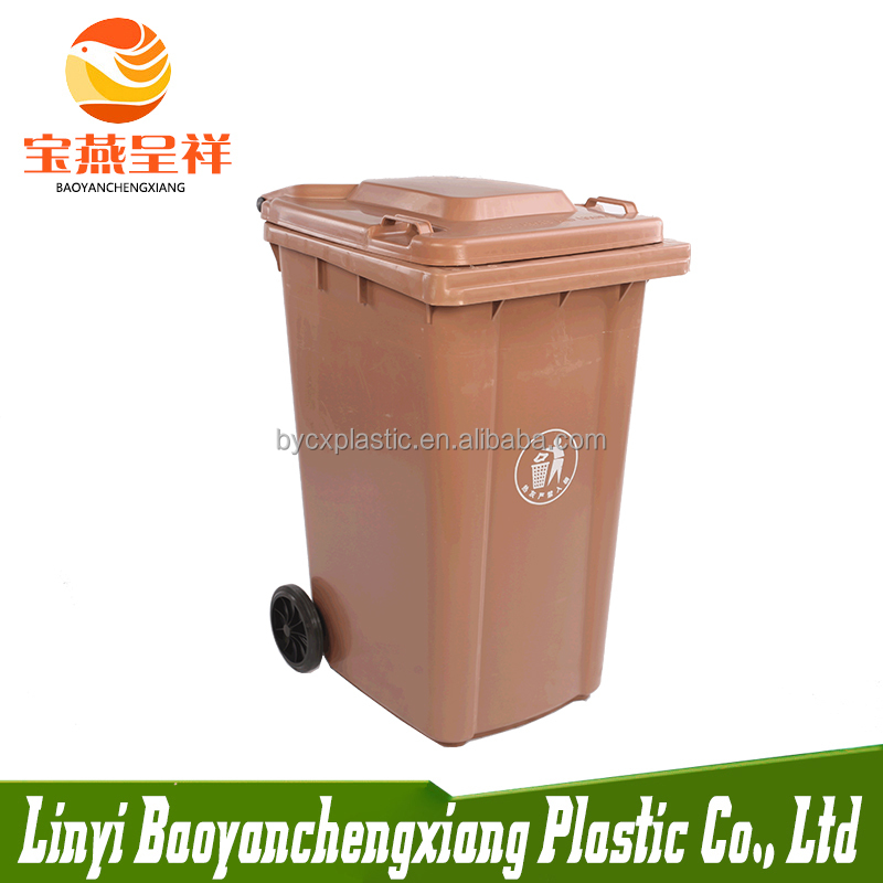 Customized Brown Color 240L Outdoor Plastic Dustbin Garbage Bin With 2 <strong>Wheels</strong>