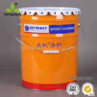 10L printed metal bucket with lace lid handle for paint/chemical