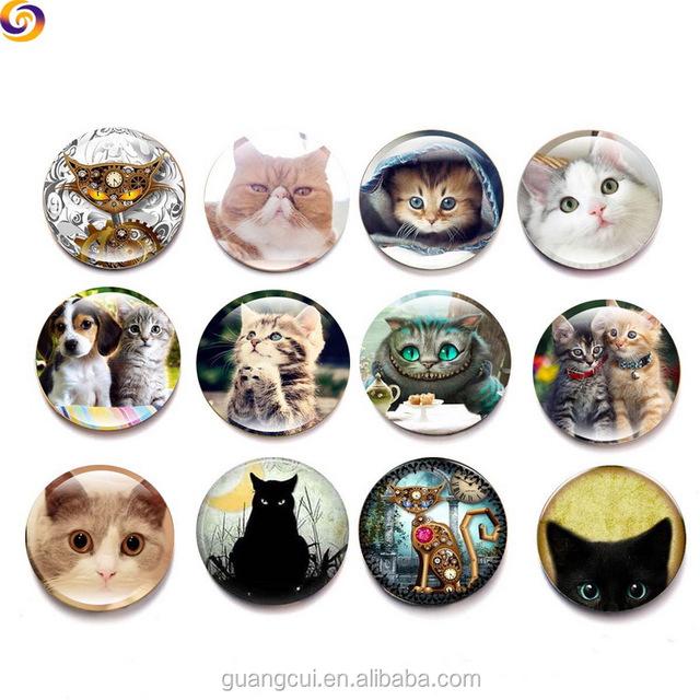 Wholesale Round Custom Design 3D half cat eye Printed Photo crystal glass fridge magnet