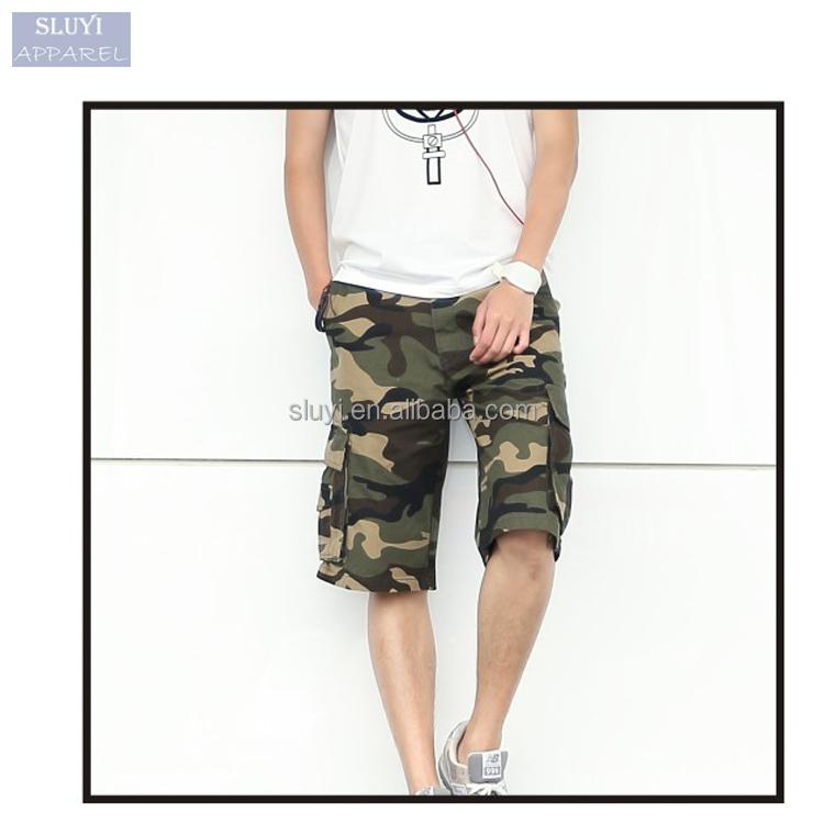 High quality mens cargo shorts 2017 fashion short pants travel casual cotton washing Camo Military Army cycling men shorts pants