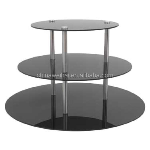 3 Tiers Black Acrylic Buffet Display Risers
