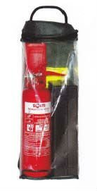 Auto kit- safety vest, extinguisher,triangle, first aid kit