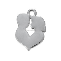 Pretty Zinc Alloy Antiqur Silver Plated Love Heart Shape Engravable Boy And Girl Silhouette Charm
