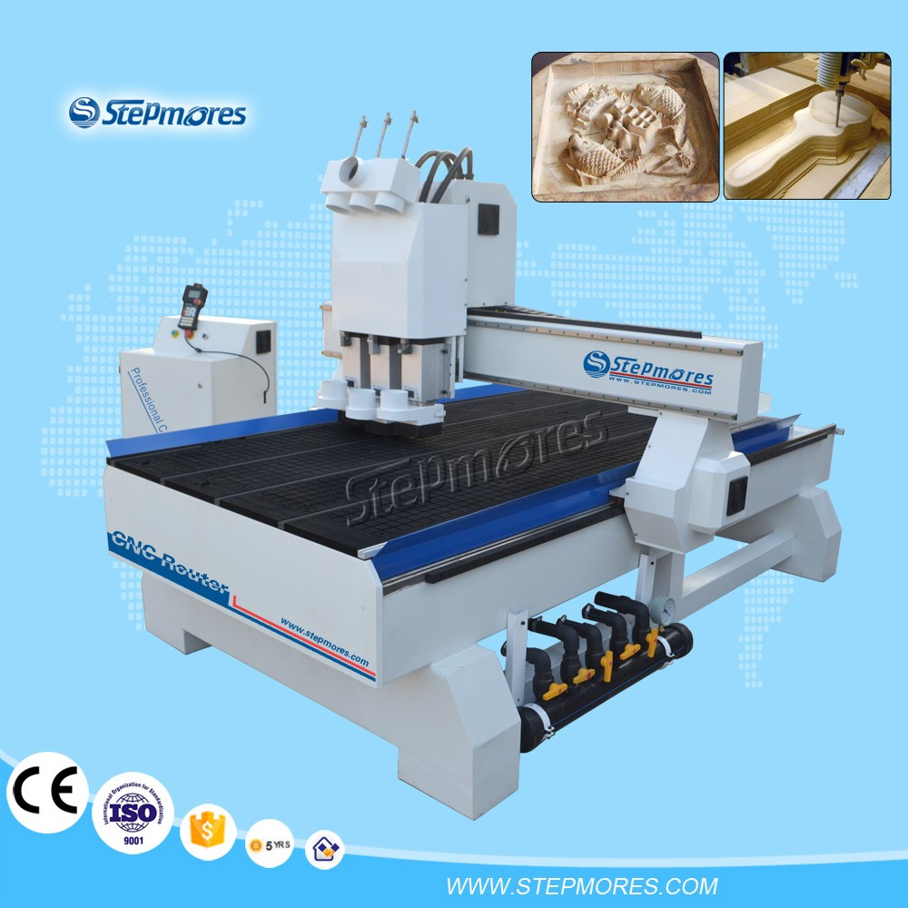3 heads 4.5kw spindle woodworking CNC router machine 1325T3